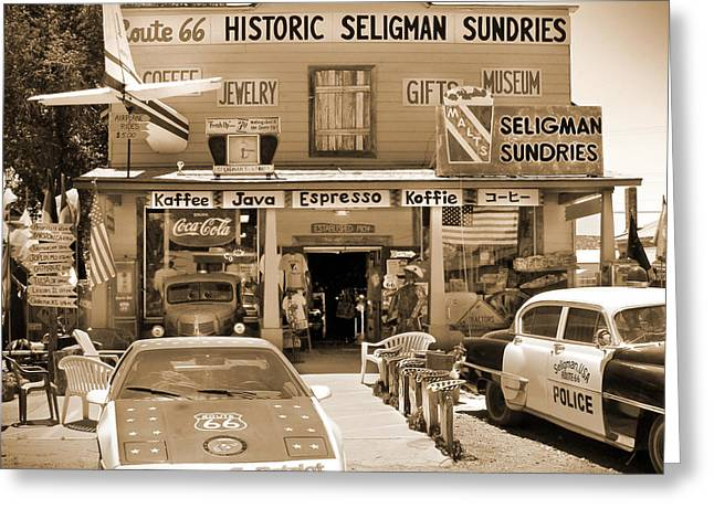 Route 66 - Historic Sundries Greeting Card by Mike McGlothlen