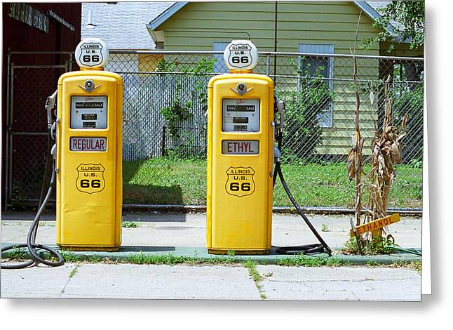 Route 66 - Illinois Gas Pumps Greeting Card by Frank Romeo