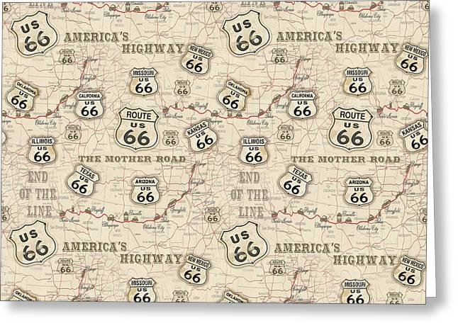 Route 66 Map-jp3960-b Greeting Card