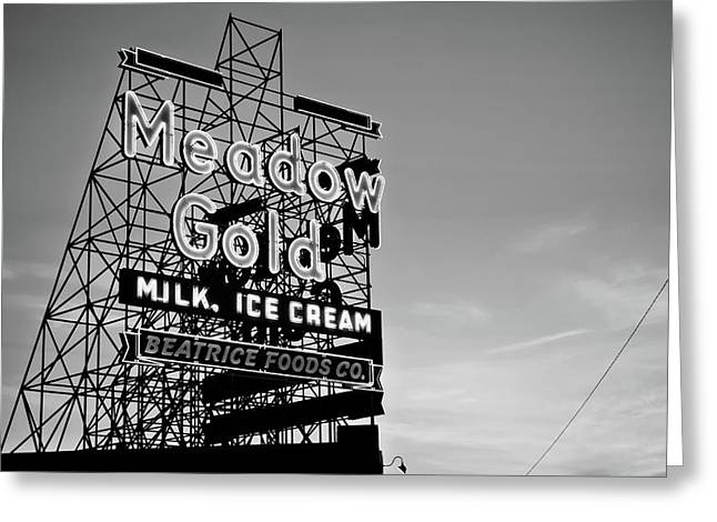 Route 66 Meadow Gold Neon Sign - Tulsa Oklahoma - Black And White Greeting Card by Gregory Ballos