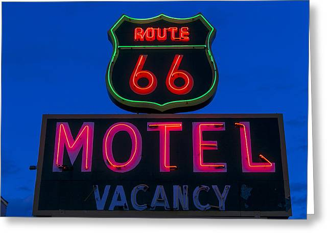 Route 66 Motel Neon Greeting Card by Garry Gay
