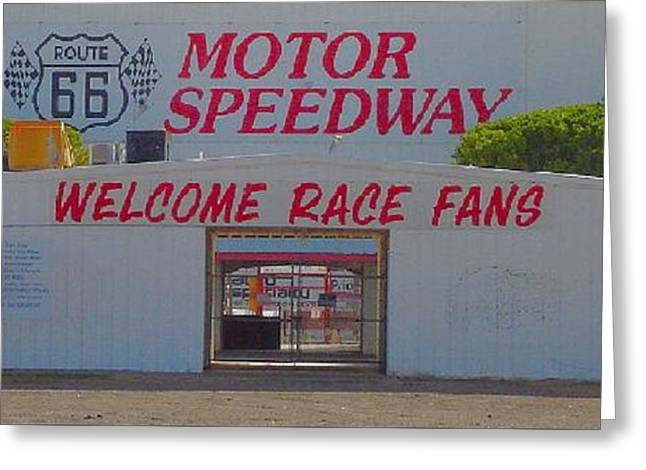 Route 66 Motor Speedway Greeting Card by Robert Morrissey