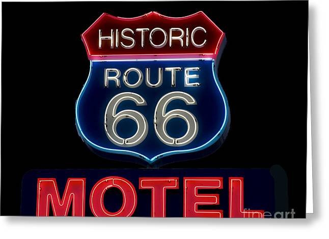 Route 66 Neon Sign Greeting Card by Mindy Sommers