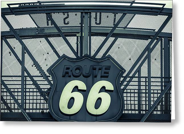Route 66 Neon Sign - Police Dept Colors - Tulsa Oklahoma Greeting Card