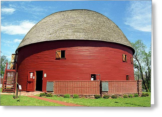 Route 66 - Round Barn Greeting Card by Frank Romeo