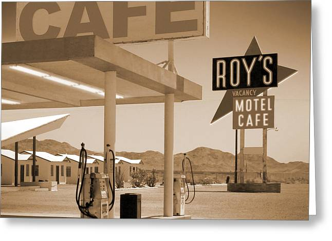 Route 66 - Roy's Motel  Greeting Card by Mike McGlothlen