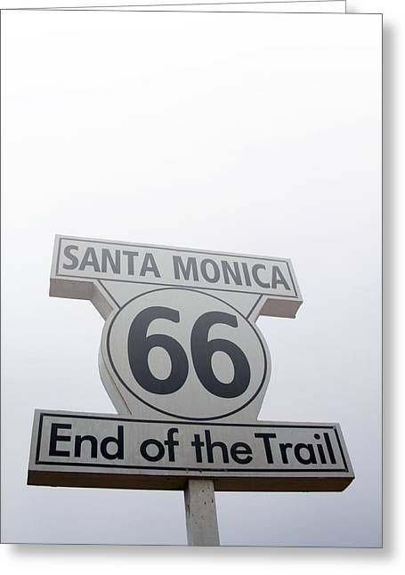 Route 66 Santa Monica- By Linda Woods Greeting Card