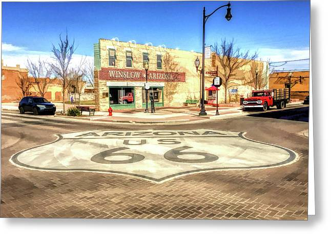 Route 66 Standing On The Corner In Winslow Arizona Street Greeting Card