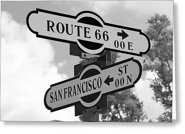 Route 66 Street Sign Black And White Greeting Card