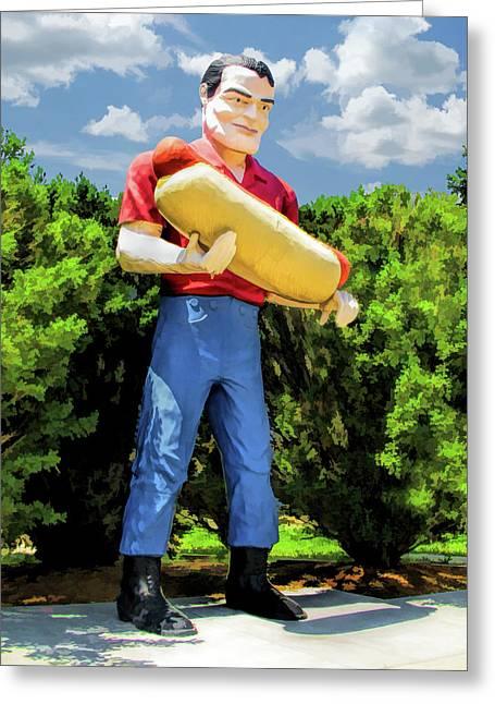 Route 66 Tall Paul Muffler Man Greeting Card