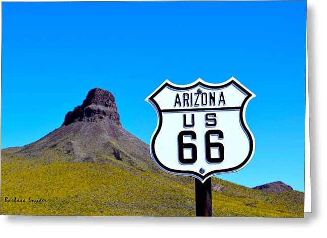 Route 66 To Oatman Arizona Greeting Card by Barbara Snyder
