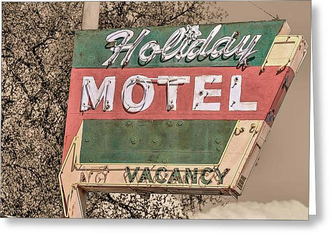 Greeting Card featuring the photograph Route 66 Vintage Americana Holiday Motel by JC Findley