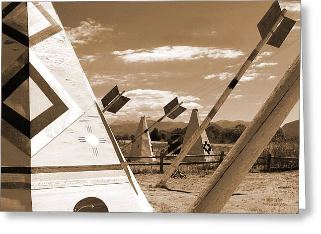 Route 66 - Wig Wam With Large Arrows Greeting Card by Mike McGlothlen
