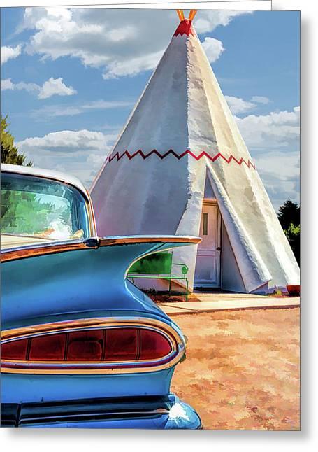 Route 66 Wigwam Motel Teepee Greeting Card