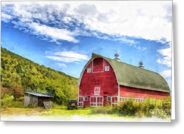 Route Vermont Red Barn Greeting Card by Edward Fielding