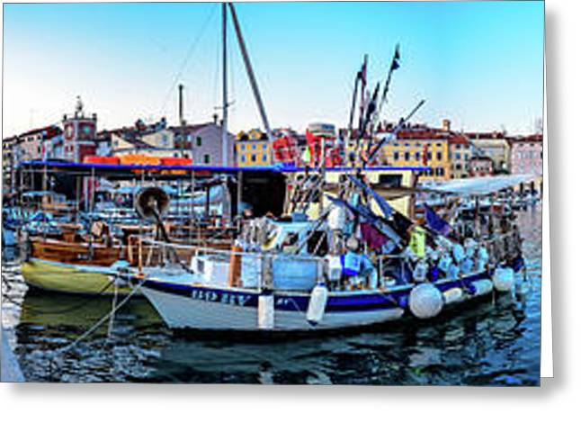 Rovinj Harbor And Boats Panorama Greeting Card