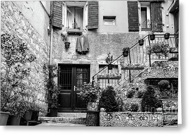 Rovinj Old Town Courtyard In Black And White, Rovinj Croatia Greeting Card