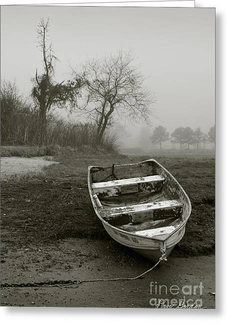 Row Boat And Low Tide Greeting Card by Dave Gordon