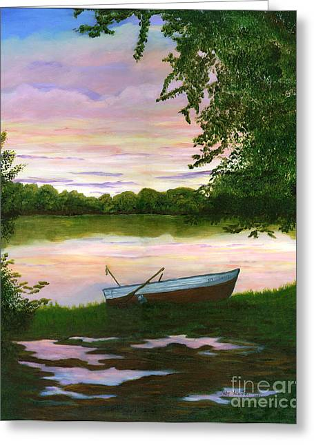 Row Boat Painting Greeting Card by Judy Filarecki