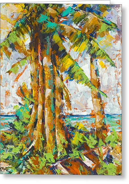 Row Boat Greeting Cards - Row Boat under Palm Trees Greeting Card by Mary DuCharme