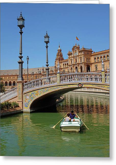 Row Boating In Seville Greeting Card