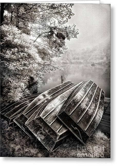 Row Boats On Blue Ridge Parkway Price Lake Bw Fx Greeting Card by Dan Carmichael
