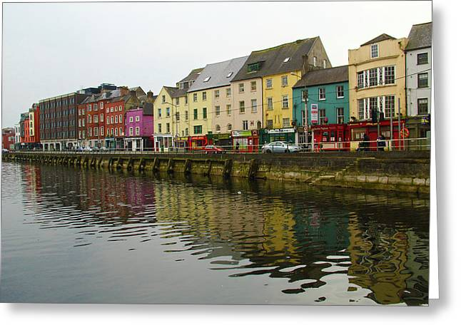 Row Homes On The River Lee, Cork, Ireland Greeting Card
