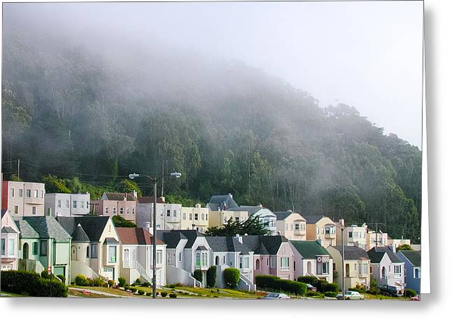 Greeting Card featuring the photograph Row Houses In Fog by Mike Evangelist