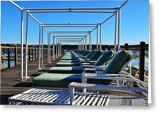 Row Of Beach Chairs Greeting Card by Alex Schindel