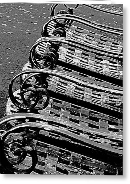 Row Of Chairs Greeting Card by Ranjini Kandasamy