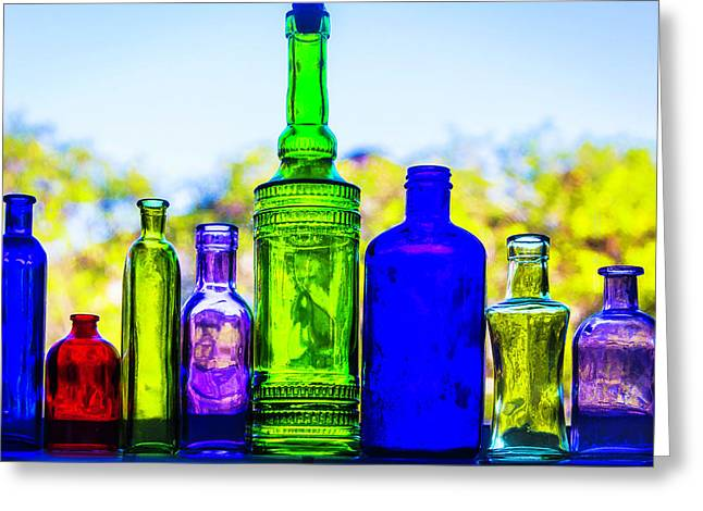 Row Of Colored Bottles Greeting Card