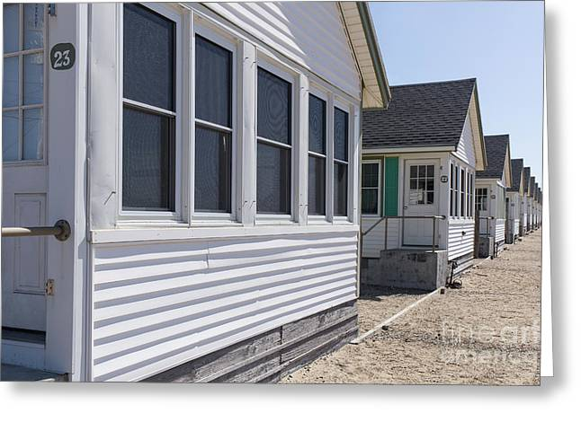 Row Of Identical Beach Cottages Greeting Card