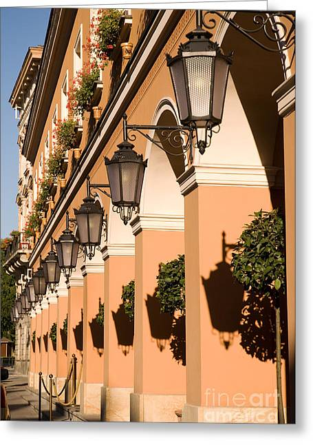 Row Of Lamps On Columns Of Building  Greeting Card by Arletta Cwalina