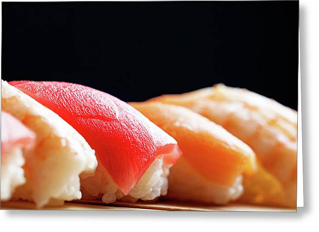 Row Of Nigiri Sushi - Black Copy Space Greeting Card