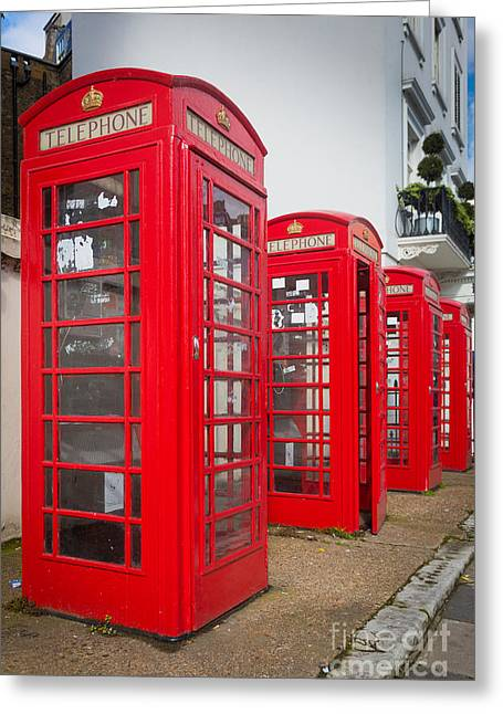Row Of Phone Booths Greeting Card