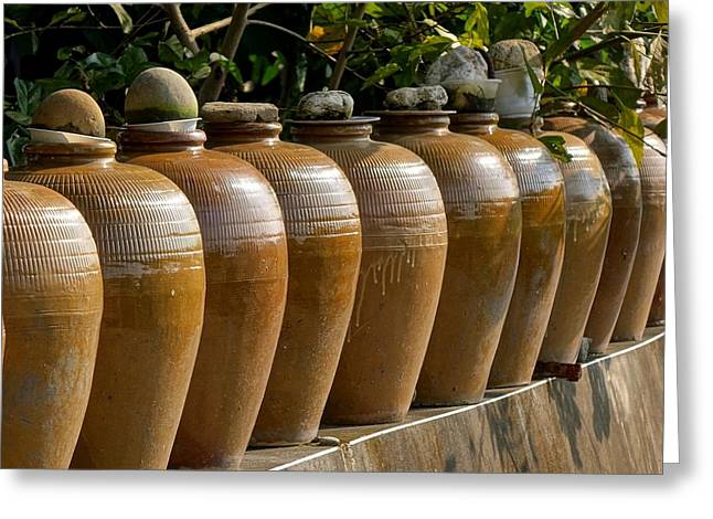 Row Of Pickling Jars Greeting Card by Yali Shi