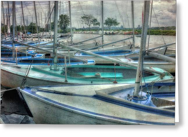 Row Of Sailboats - Charles River - Boston Greeting Card