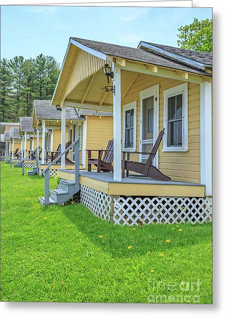 Row Of Vintage Yellow Rental Cottages Greeting Card by Edward Fielding