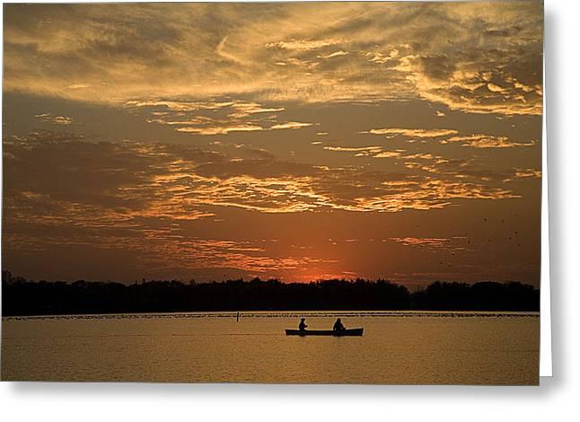 Row Row Row Your Canoe Greeting Card by Theo Tan