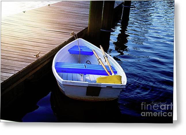Rowboat At Sunset Greeting Card