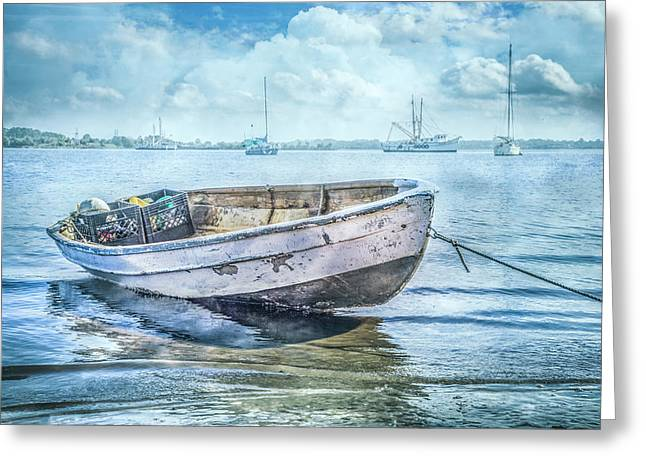 Rowboat At The Marina Greeting Card