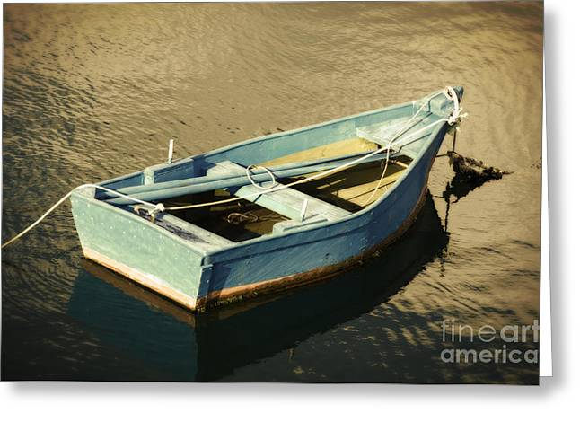 Rowboat At Twilight Greeting Card by Mary Machare