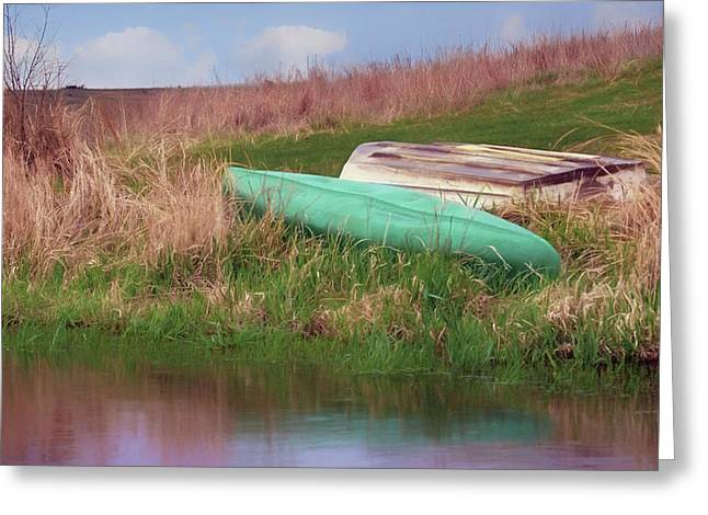 Greeting Card featuring the photograph Rowboat - Canoe by Nikolyn McDonald