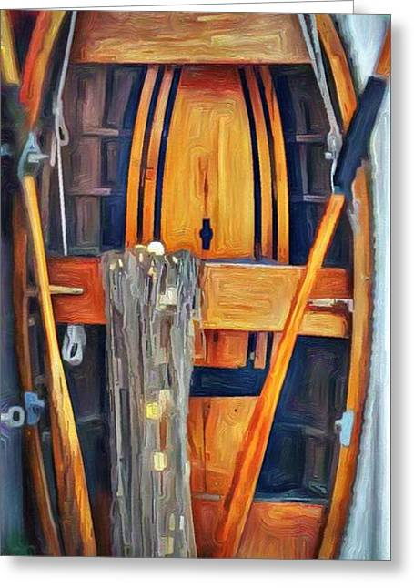 Rowboat Standing Time Greeting Card by Jeffrey Canha
