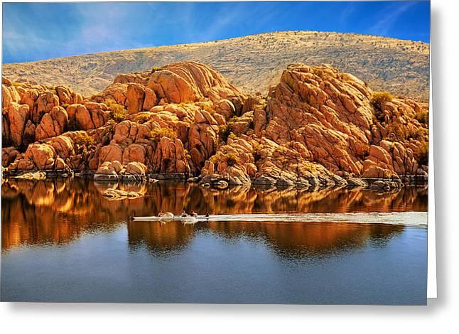 Rowboating In Peaceful Watson Lake - Arizona Greeting Card by Susan Schmitz