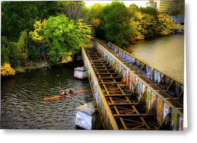 Greeting Card featuring the photograph Rowers Under The Boston University Bridge by Joann Vitali