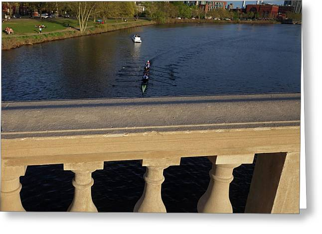 Rowinfg Towards The Weeks Bridge Charles River Harvard Square Cambridge Ma Greeting Card