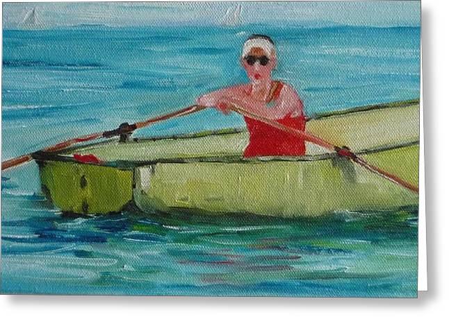 Rowing Away Greeting Card by Irit Bourla