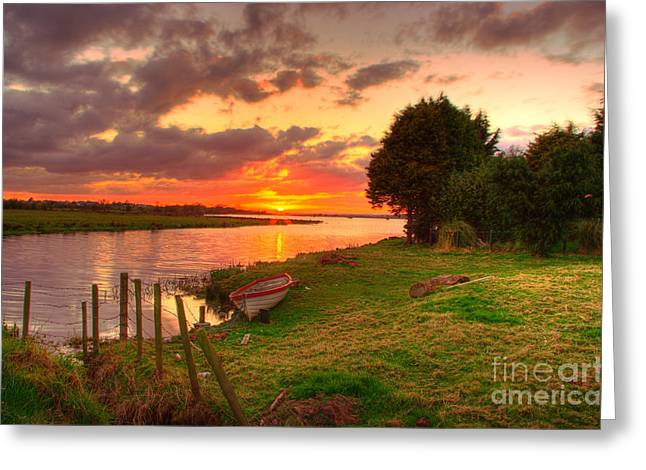 Rowing Boat At Bannfoot Loughneagh Greeting Card by Kim Shatwell-Irishphotographer