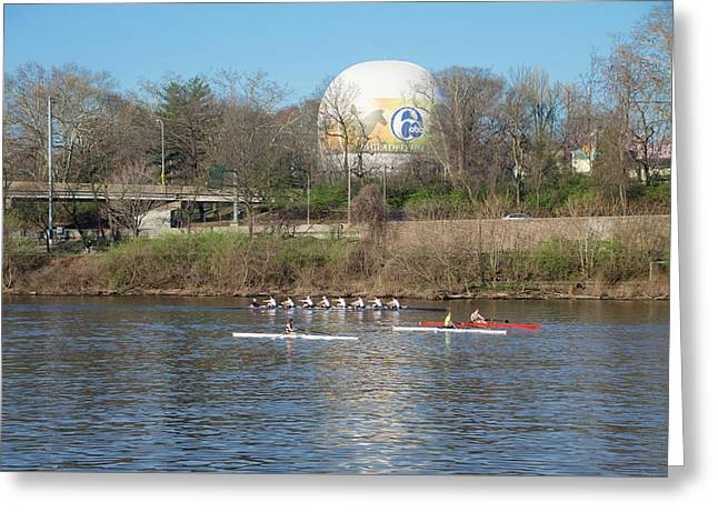 Rowing By The Zoo Balloon - Philadelphia Greeting Card by Bill Cannon